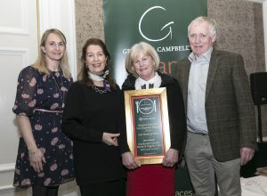 Photographer Paul Sherwood paul@sherwood.ie; 087 230 9096 www.sherwood.ie Free repro Georgina Campbell Irish Breakfast awards, held at The InterContinental Hotel, Dublin. February 2019 Pictured: Coolanowle Country House & Organic Farm Georgina Campbell , Lucille Boland, Bernadine Mulhall, James Mulhall